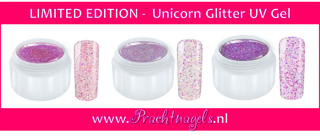 Unicorn Glitter UV Gel - Set van 3 kleuren